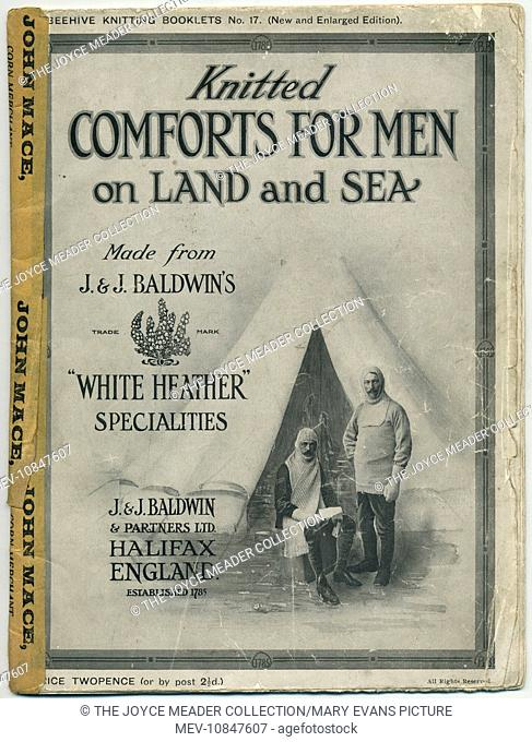 Knitted Comforts for Men on Land and Sea - front cover of a booklet published by J & J Baldwin's, yarn manufacturers of Halifax
