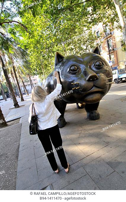 The Cat sculpture by Fernando Botero, painter, sculptor and draftsman Colombian born on April 19, 1932 in Medellin (Colombia). Rambla del Raval