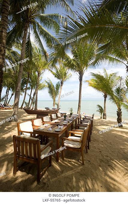 Beach restaurant of the Santiburi Dusit Resort, Mae Nam Beach, Hat Mae Nam, Ko Samui, Thailand