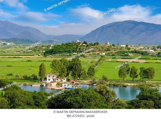 Landscape at Saranda with Kisha e Shendellise church, Vivar canal, Butrint National Park, Varkala, Albania