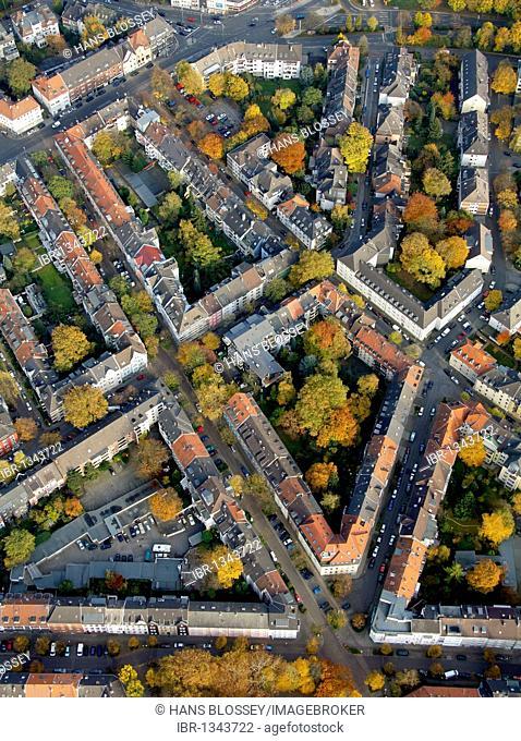Aerial view, block perimeter development, Ruettenscheid, Essen, Ruhr Area, North Rhine-Westphalia, Germany, Europe
