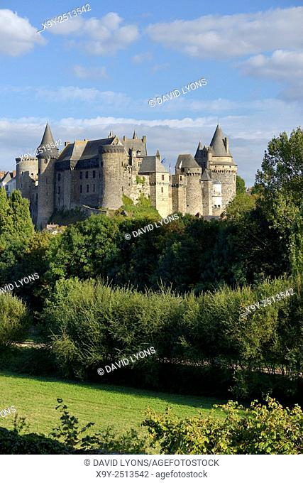 French medieval town of Vitre, Brittany. Vitre Castle Chateau seen from the west. Summer