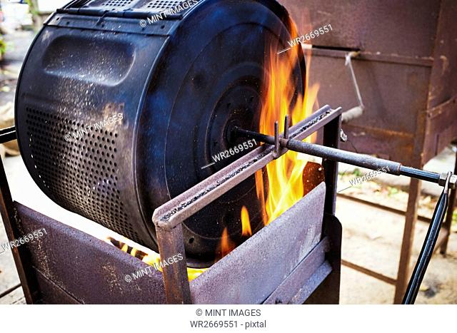 Chestnuts roasting in a large metal cylinder over flaming coals