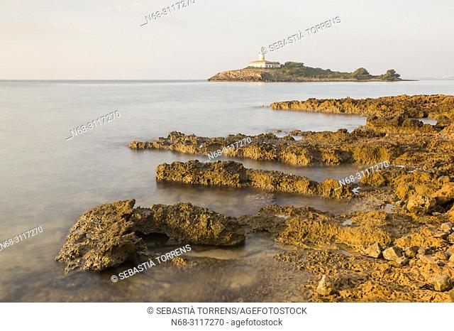 Aucanada and island, Alcudia coast, Majorca, Balearic Islands, Spain