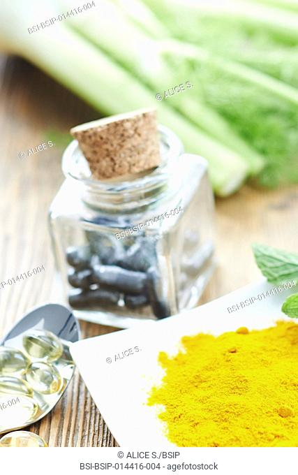 Treating stomach ache, indigestion and bloating : charcoal, cod liver oil, mint, fennel, turmeric