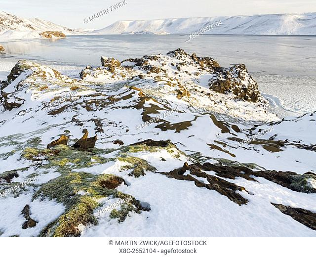 Landscape at lake Kleifarvatn during winter. europe, northern europe, iceland, February