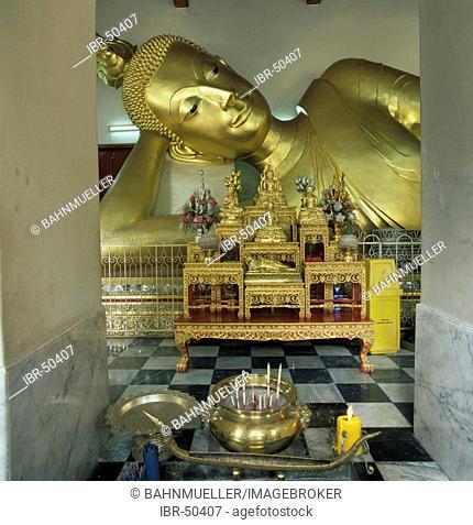 Nkhon Pathom Thailand Phra Pathom Chedi temple lying Buddha