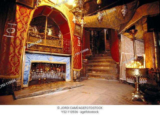 Church of the Nativity, built over the supposed Jesus' birthplace, Bethlehem. Palestine