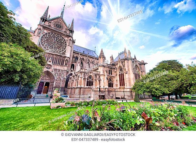 Notre Dame exterior view from Jean XXIII Park, Paris, France