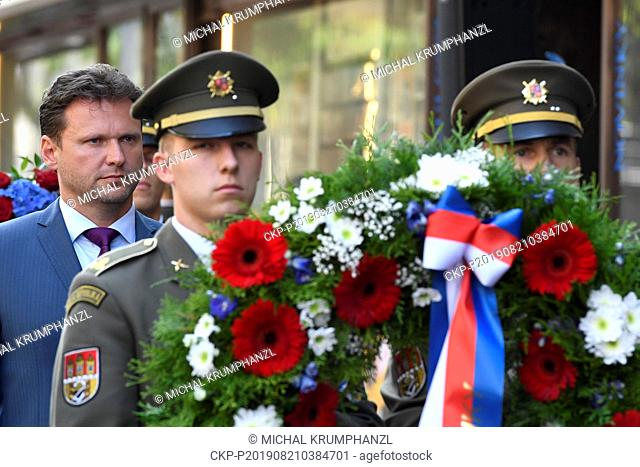 Czech lower house head Radek Vondracek attends an act of reverence to honour the memory of people killed in August 1968 in defense of the Czech radio building