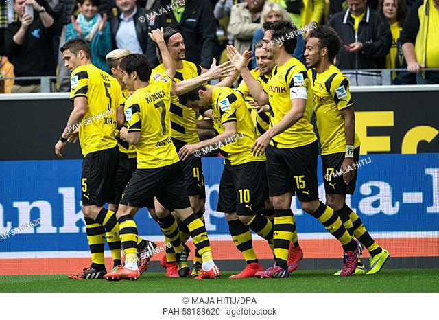 Dortmund players celebrate the Neven Subotic (4. f.l) goal at 1:0 during the German Bundesliga soccer match between Borussia Dortmund and Hertha BSC at the...
