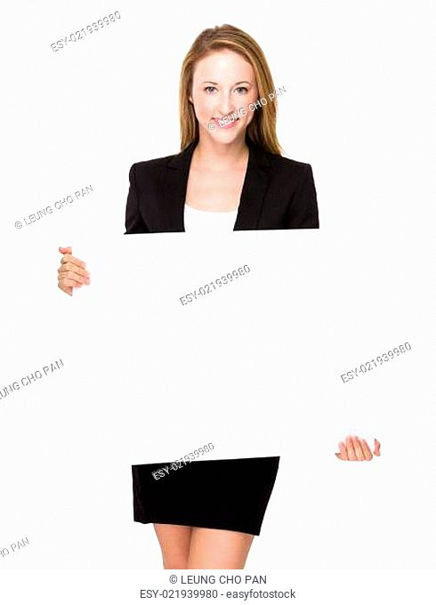 Businesswoman hold with white board