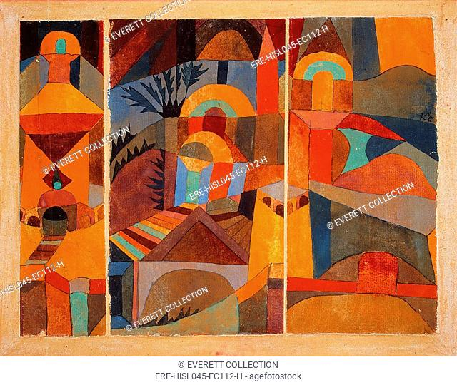 TEMPLE GARDENS, by Paul Klee, 1920, Swiss drawing, painting, gouache, and ink on paper. Abstract planes of bright color suggest Islamic architecture