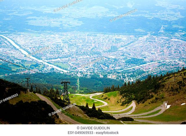 Innsbruck aerial view from Hafelekarspitze mountain. Innsbruck from the top. Austria landmark