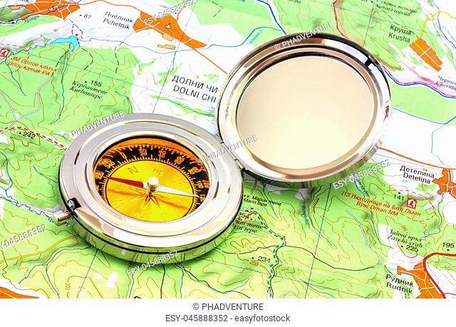 Compass over the map closeup