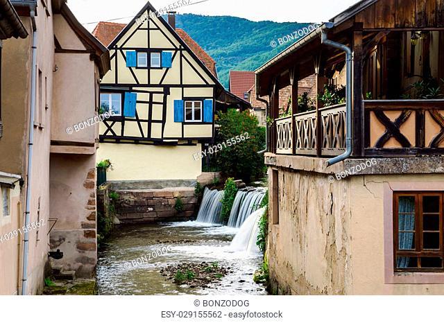 Old alsacien village street view, France, summer