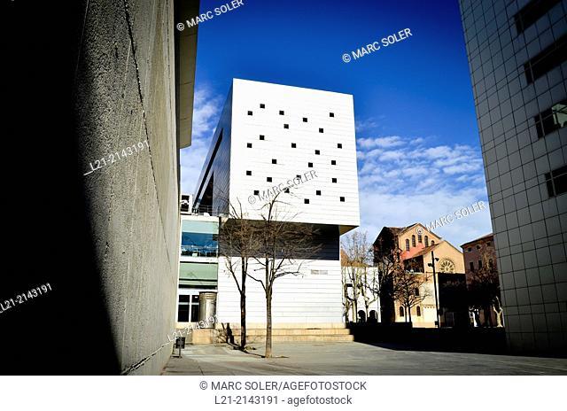 Blanquerna School of Communication building, CCCB Theatre. Santa Maria de Montalegre church. Macba. Joan Coromines square, Barcelona, Catalonia, Spain