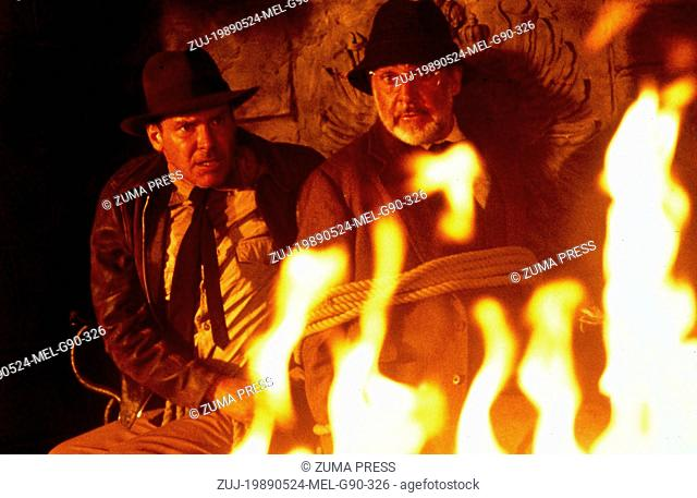 May 24, 1989; Amarillo, TX, USA; HARRISON FORD and SEAN CONNERY star as Indiana Jones and Professor Henry Jones in the action adventure film 'Indiana Jones and...