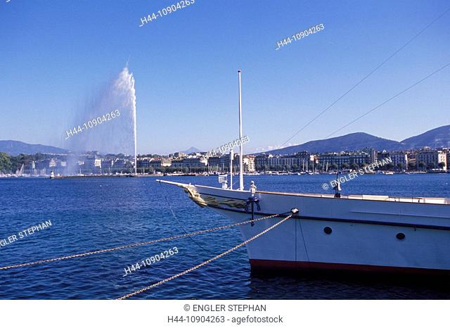 Switzerland, Europe, Genève, Geneva, scenery, panorama, ship, C.G.N, Compagnie générale de navigation, Jet d'eau, fountain, canton, town, city, lake, Lac Léman
