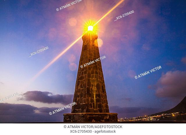 Night view of Bajamar lighthouse. Tenerife island. Spain