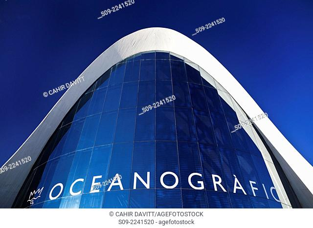 Detail view of the Main Entry Building of the L'Oceanografic Aquarium, located in the City of Arts and Sciences, designed by the Architect Felix Candela in...