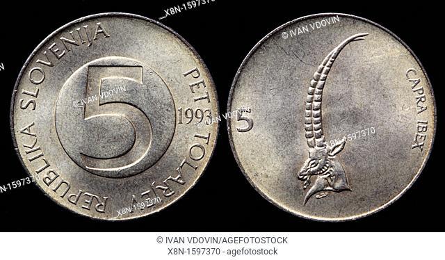 5 Tolarjev coin, Slovenia, 1993