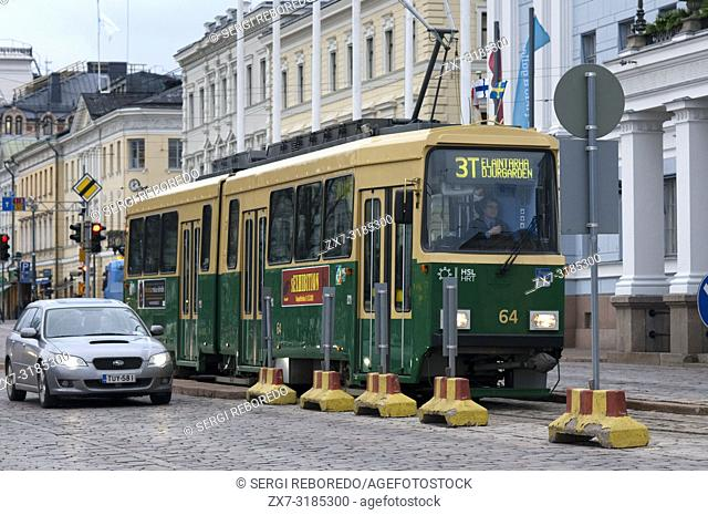 Tram number 3T going past Kauppahalli the main market n Helsinki Finland Europe