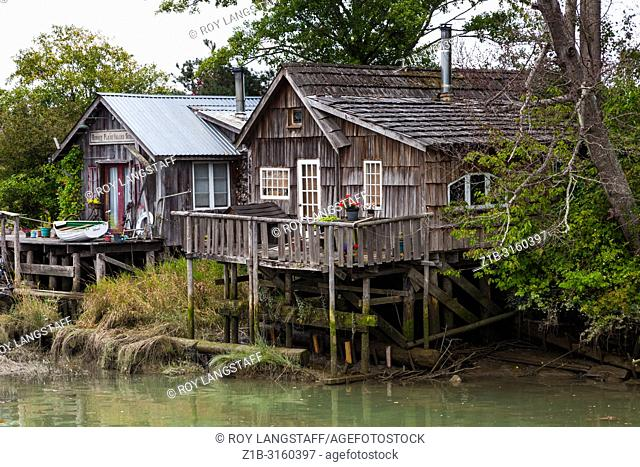Finn Slough community on the banks of the Fraser River in Richmond, British Columbia