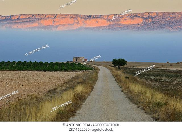 Country road and farmhouse, Sierra del Mugron, Almansa, Albacete province, Castilla-La Mancha, Spain