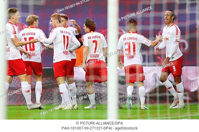 07 October 2018, Saxony, Leipzig: 07 October 2018, Germany, Leipzig: Soccer: Bundesliga, Matchday 7: RB Leipzig vs 1. FC Nuremberg in the Red Bull Arena Leipzig