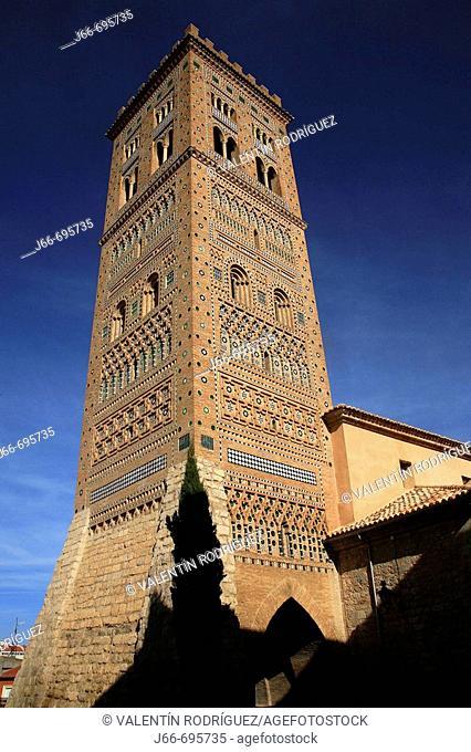 Tower of San Martín (14th century) in mudejar style, Teruel. Aragon, Spain