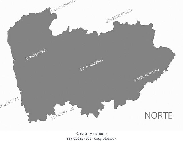 Norte Portugal Map in grey