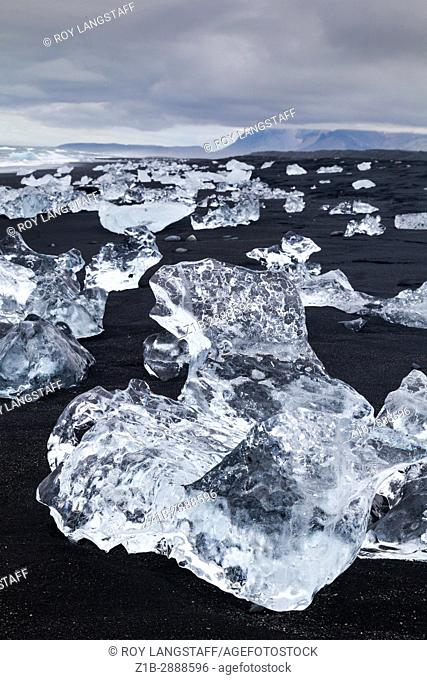 Glacial ice formation on an Icelandic beach by the Jokulsarlon lagoon