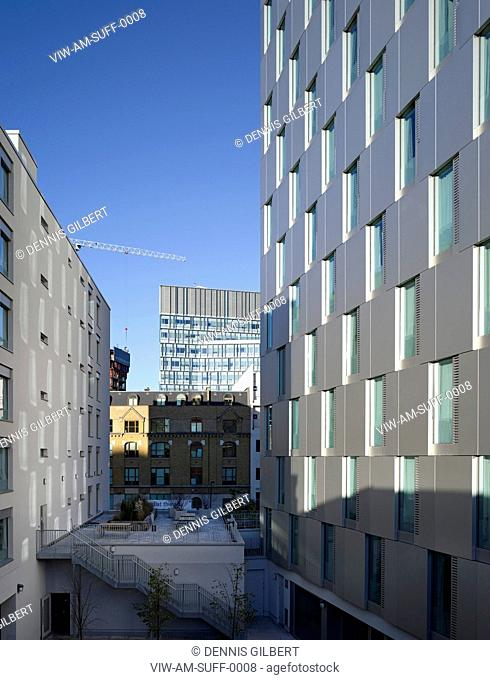 RESIDENTIAL STUDENT HOUSING ALLIES AND MORRISON LONDON 2010 PERSPECTIVE OF FACDES FROM INNER COURTYARD, LONDON, UNITED KINGDOM, Architect