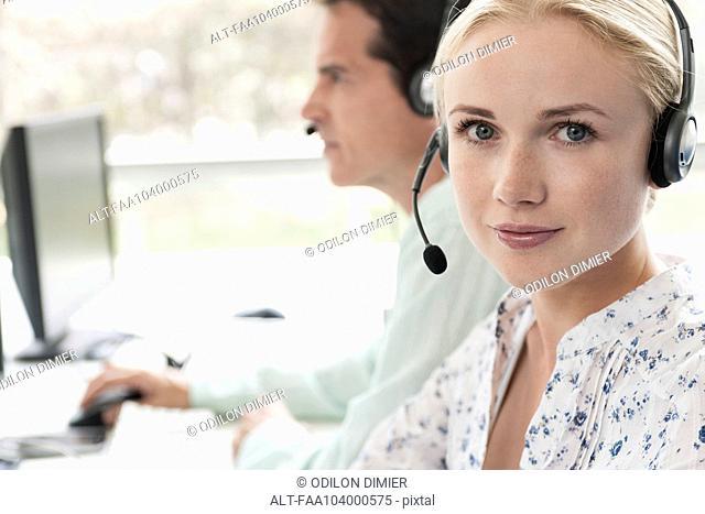 Operator in call center, portrait