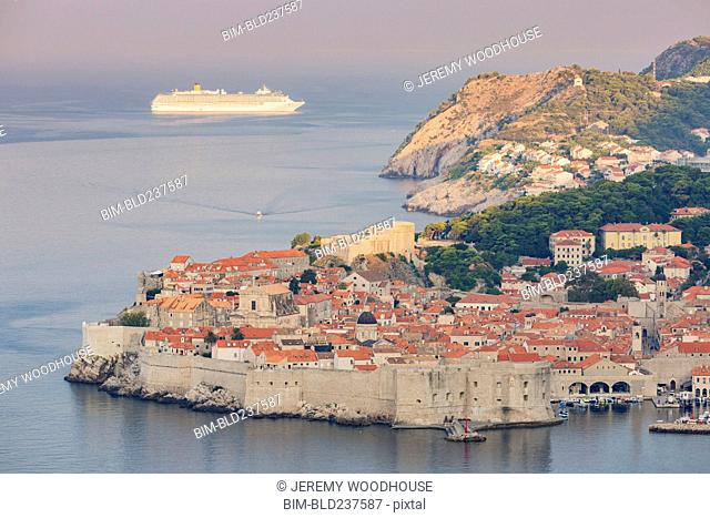 Cruise ship near waterfront, Dubrovnik, Dalmatia, Croatia