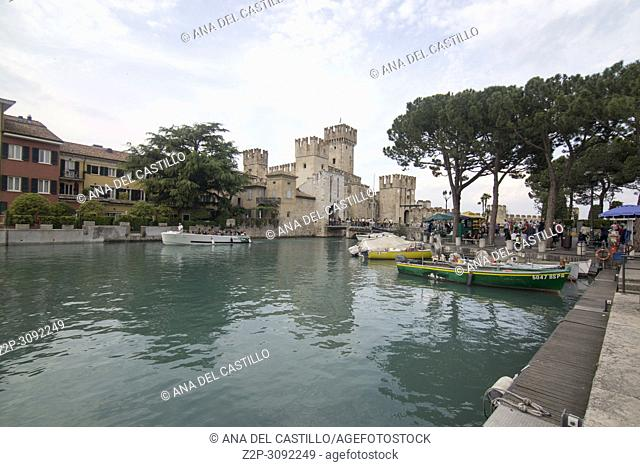 Roca scaligera the castle in Sirmione, Garda lake, Lombardy, Italy