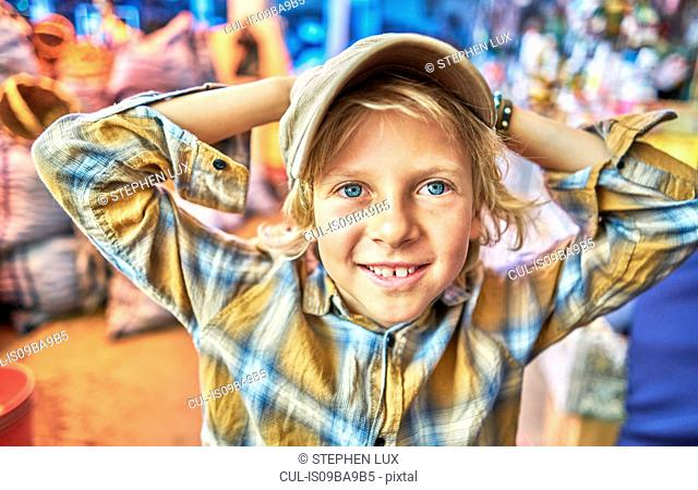 Portrait of young boy at festival, Sucre, Potosi, Bolivia, South America