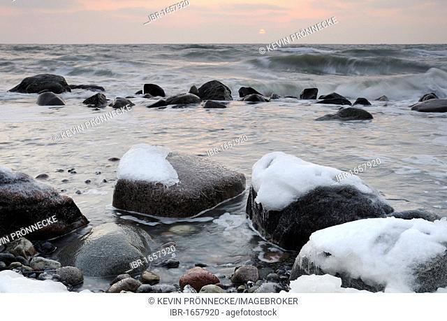 Icy rocks on the Baltic Sea coast, Jasmund National Park, Ruegen Island, Mecklenburg-Western Pomerania, Germany, Europe