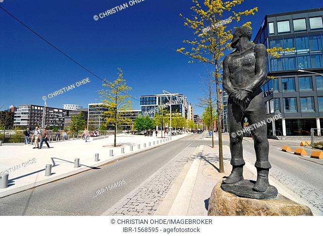 Statue of Stoertebeker, Grosser Grasbrook street, Hafencity, Hamburg, Germany, Europe