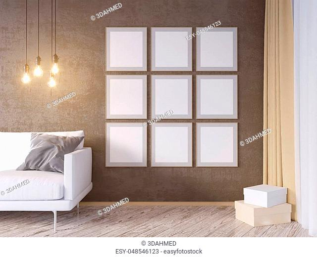 Living room interior wall mock up with gray fabric sofa, pillows and Xmas star on white background, 3D rendering, 3D illustration texture, up, wall, white