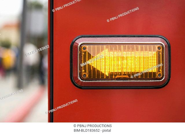 Close up of fire truck blinker arrow
