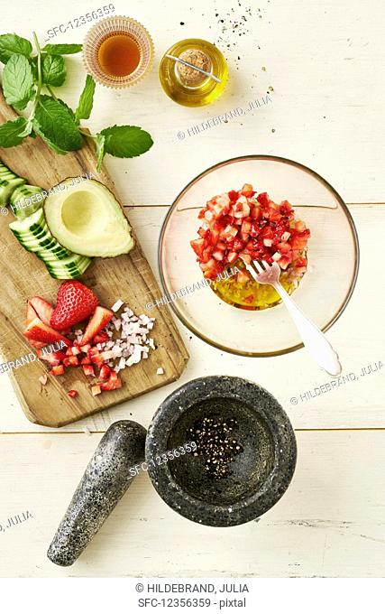 Strawberry dressing with the ingredients