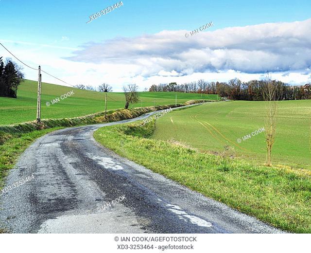 country road near Lauzun, Lot-et-Garonne Department, Nouvelle Aquitaine, France