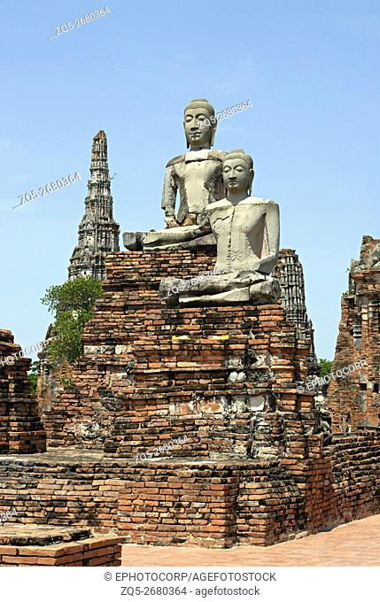 Thailand, Ayutthaya. 1374 A. D. Huge seated Buddha images in Padmasana in Stupa complex
