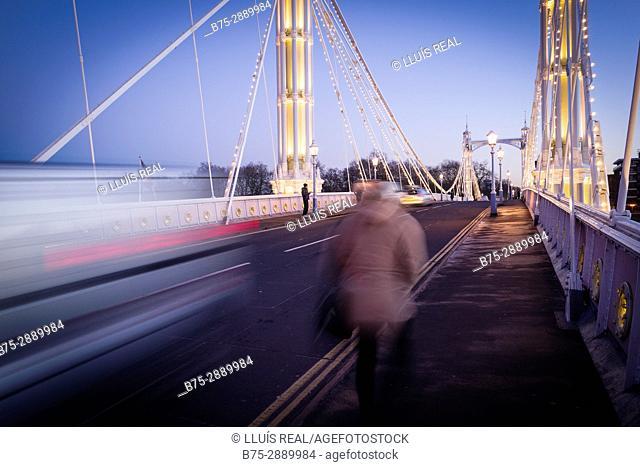 River Thames, Albert Bridge, London, England