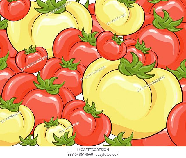 Red and yellow tomatoes background. Vector