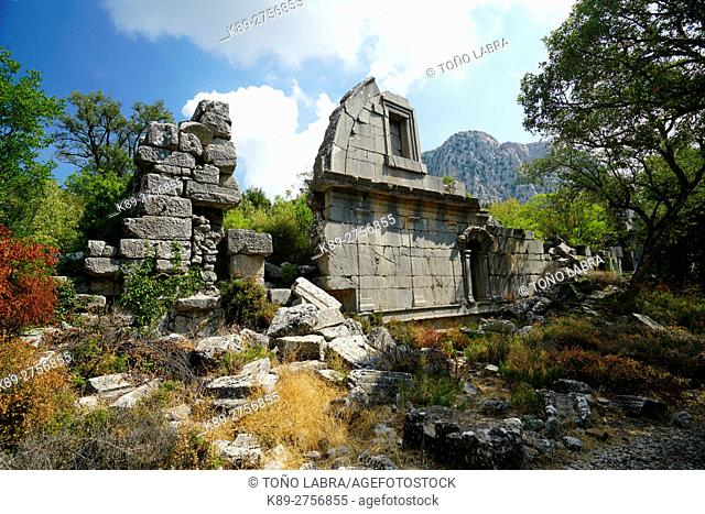 Gymnasium of Termessos. The unexcavated Pisidian city. Ancient Greece. Asia Minor. Turkey