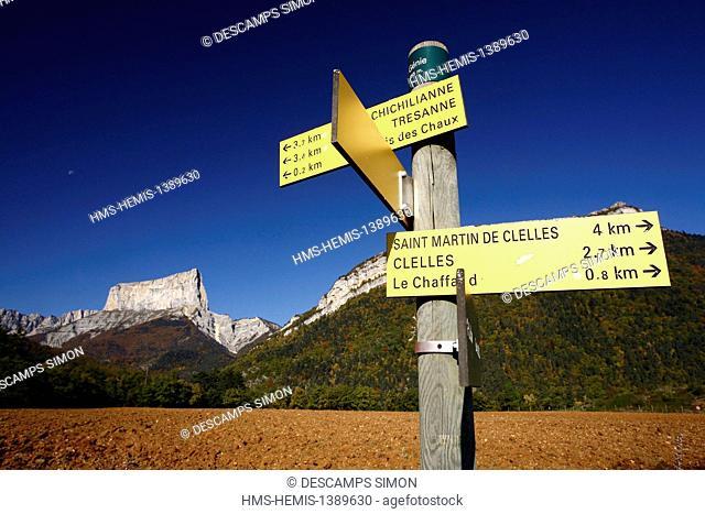 France, Isere, Parc Naturel Regional du Vercors (Natural regional park of Vercors), Chichilianne, the Mont Aiguille peak