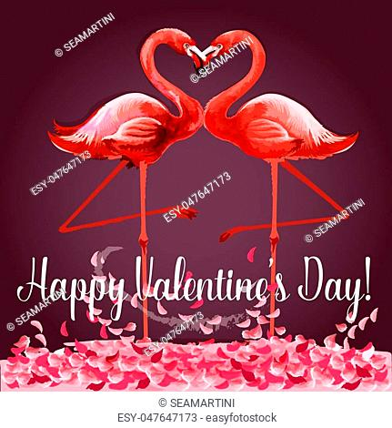 Love and Valentine Day card. Romantic pink flamingo birds join heads to create a heart. Greeting card with love birds and rose flower petals